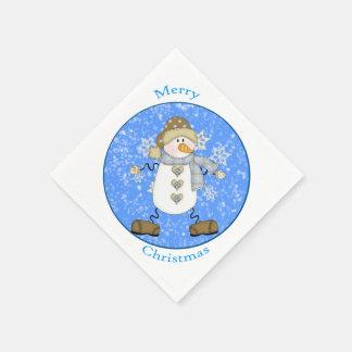 Navidad lindo del muñeco de nieve del copo de servilletas de papel