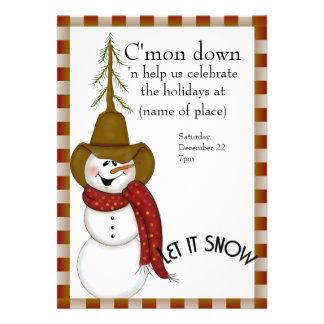Navidad lindo del muñeco de nieve del vaquero del invitacion personalizada