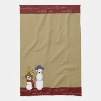 Navidad lindo del muñeco de nieve del vaquero del  toallas de cocina