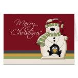 Navidad lindo del muñeco de nieve y de los pingüin tarjetón