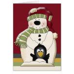 Navidad lindo del muñeco de nieve y de los pingüin tarjetas