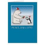 Navidad lindo del oso polar y del pingüino tarjeta de felicitación