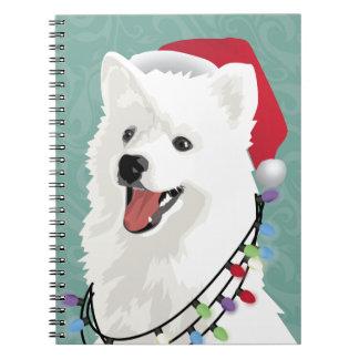 Navidad lindo del perro de perrito del samoyedo libreta espiral