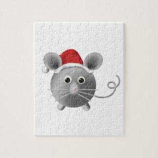 Navidad lindo del ratón del gris de plata de Santa Rompecabezas Con Fotos