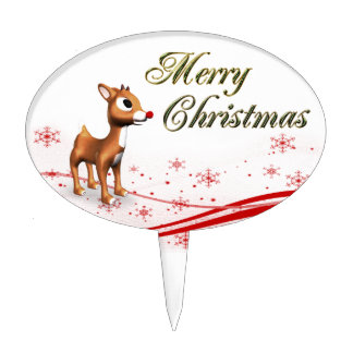 Navidad lindo del reno del dibujo animado decoración de tarta