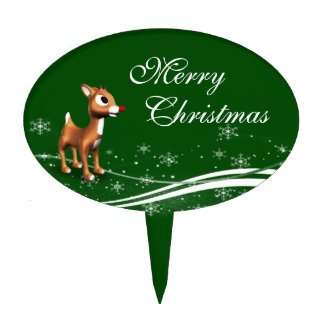 Navidad lindo del reno del dibujo animado figura para tarta