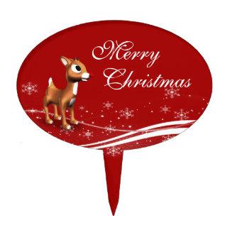 Navidad lindo del reno del dibujo animado figuras de tarta