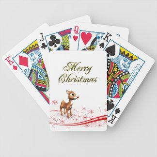 Navidad lindo del reno del dibujo animado baraja