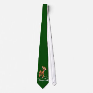 Navidad lindo del reno del dibujo animado corbata personalizada