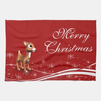 Navidad lindo del reno del dibujo animado toallas de cocina