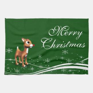 Navidad lindo del reno del dibujo animado toalla