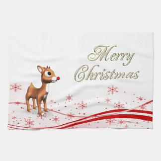 Navidad lindo del reno del dibujo animado toalla de cocina