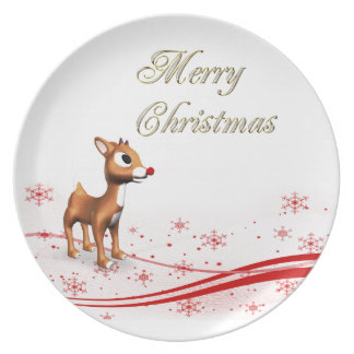 Navidad lindo del reno del dibujo animado plato de cena