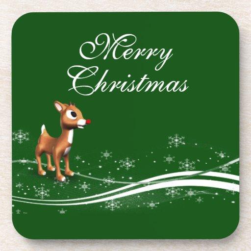 Navidad lindo del reno del dibujo animado posavaso