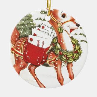 Navidad lindo del vintage del reno de Santa del Adorno Redondo De Cerámica