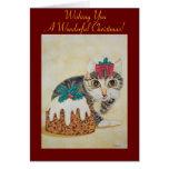 navidad lindo gatito y tarjeta de felicitación del