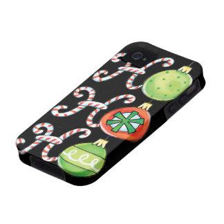Navidad lindo Ho Ho Ho, ornamentos de los bastones Vibe iPhone 4 Fundas