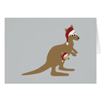 Navidad lindo KangaROOS Tarjeta Pequeña