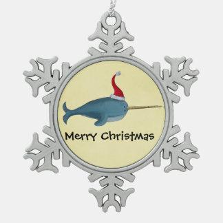 Navidad lindo Narwhal Adorno