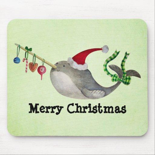 Navidad lindo Narwhal Alfombrilla De Ratón