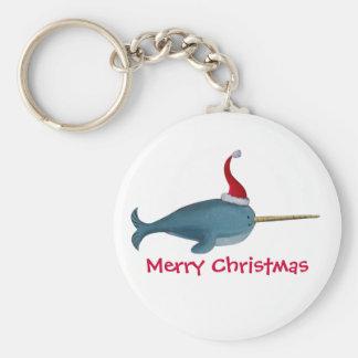Navidad lindo Narwhal Llaveros Personalizados