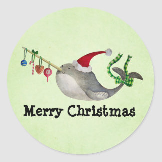 Navidad lindo Narwhal Etiquetas Redondas