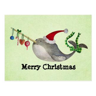 Navidad lindo Narwhal Postal
