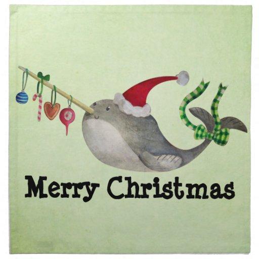 Navidad lindo Narwhal Servilletas De Papel