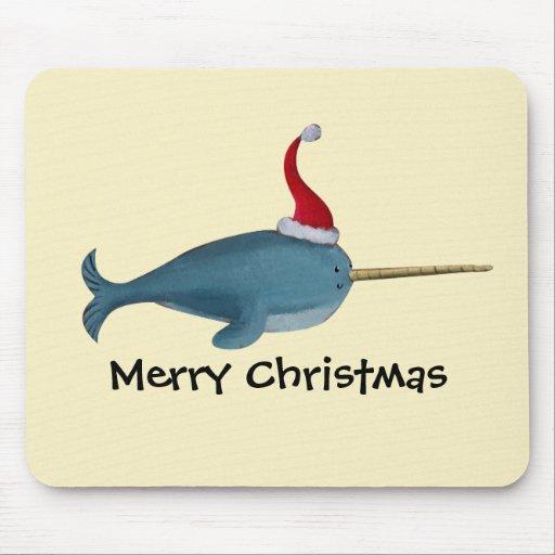 Navidad lindo Narwhal Tapete De Ratón