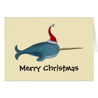 Navidad lindo Narwhal Tarjetón
