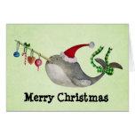 Navidad lindo Narwhal Tarjeta De Felicitación