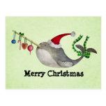 Navidad lindo Narwhal Tarjeta Postal