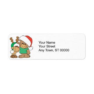 Navidad lindo oso y reno etiqueta de remitente