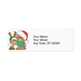 Navidad lindo oso y reno etiquetas de remite