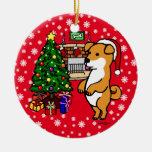 Navidad lindo personalizado del perrito de Shiba Adorno Navideño Redondo De Cerámica