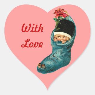 Navidad lindo que almacena, pequeño niño, corazón pegatina en forma de corazón