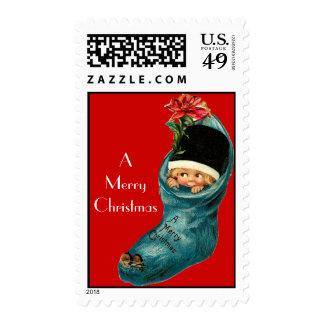 Navidad lindo que almacena, pequeño niño, rojo sello postal