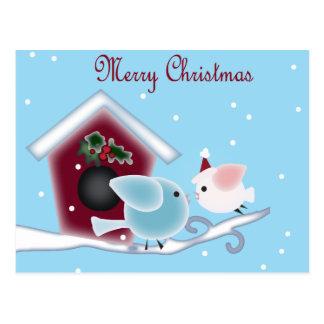 Navidad lindo que besa pájaros debajo de muérdago tarjeta postal