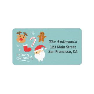 Navidad lindo - Santa, reno, hombre de pan de jeng Etiquetas De Dirección