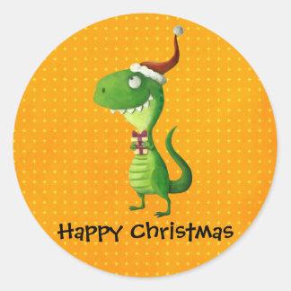 Navidad lindo T-rex Pegatina Redonda
