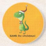 Navidad lindo T-rex Posavasos Cerveza