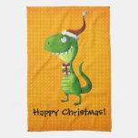 Navidad lindo T-rex Toallas De Cocina