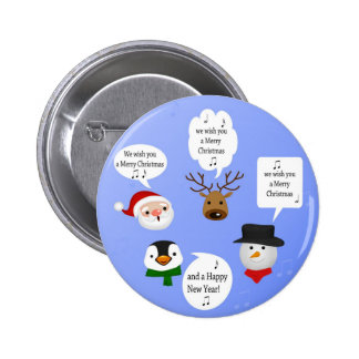 Navidad lindo y divertido - botón pin redondo de 2 pulgadas