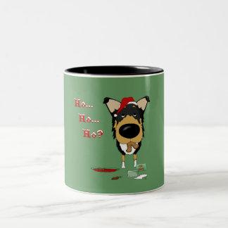 Navidad liso del collie taza