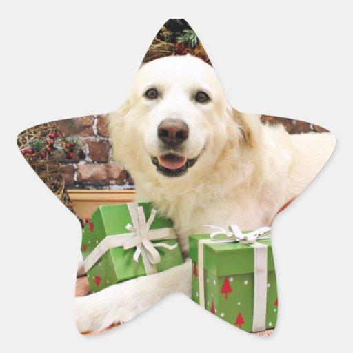 Navidad - los grandes Pirineos Labrador X - Ginny Calcomanías Forma De Estrellaes