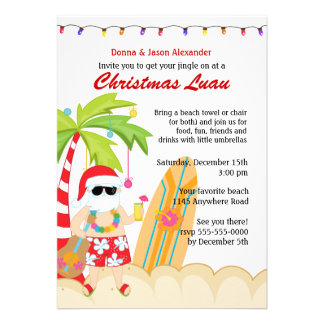 Navidad Luau Invitaciones Personales