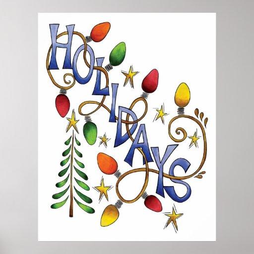 Navidad, luces y estrellas lindos con el texto del póster