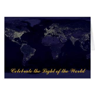 Navidad (luz del mundo) tarjeta de felicitación