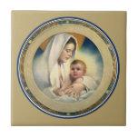Navidad, Madonna y niño de Relgious del vintage Teja Ceramica