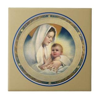 Navidad Madonna y niño de Relgious del vintage Teja Ceramica